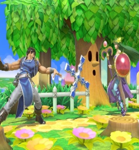 Richter Belmont throwing holy cross at Lady Palutena super Smash Bros ultimate Nintendo Switch Castlevania