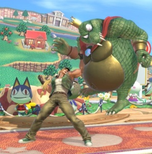 Terry punching king k rool Town and City Stage super Smash Bros ultimate Nintendo Switch animal crossing