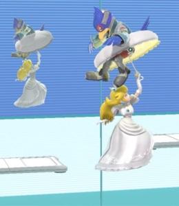 Princess peach hitting Falco with umbrella Wii Fit Studio stage super Smash Bros ultimate Nintendo Switch