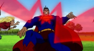 Apocalypse hits superman with laser Superman/Batman: Apocalypse
