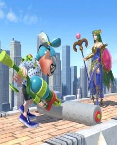 Inkling dry paint roller vs palutena super Smash Bros ultimate Nintendo Switch splatoon