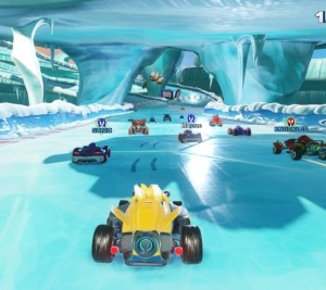 Tails driving on ice track Team Sonic Racing Nintendo Switch Xbox One PS4 Sega