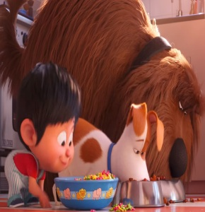 The Secret Life of Pets 2 liam eating with max and Duke