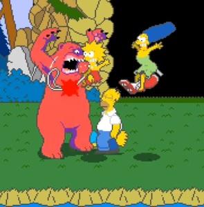 Grizzly bear boss battle The Simpsons Arcade Konami