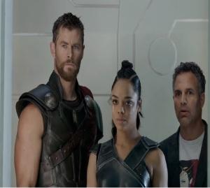 Thor: Ragnarok Thor Bruce Banner and Valkyrie find Loki Chris Hemsworth mark Ruffalo