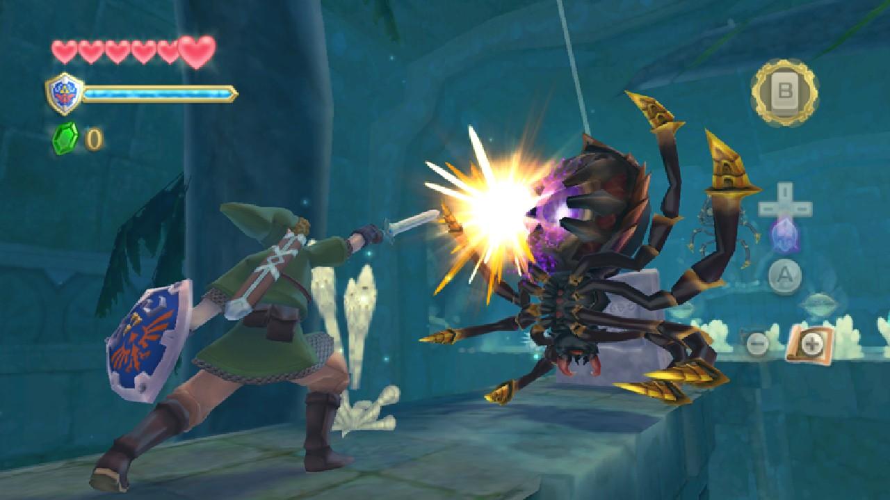 Link hits large spider with master sword The Legend of Zelda: Skyward Sword Wii