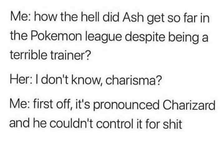 Memes Ash Ketchum and Charizard