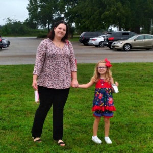 Mom and daughter first day of kindergarten