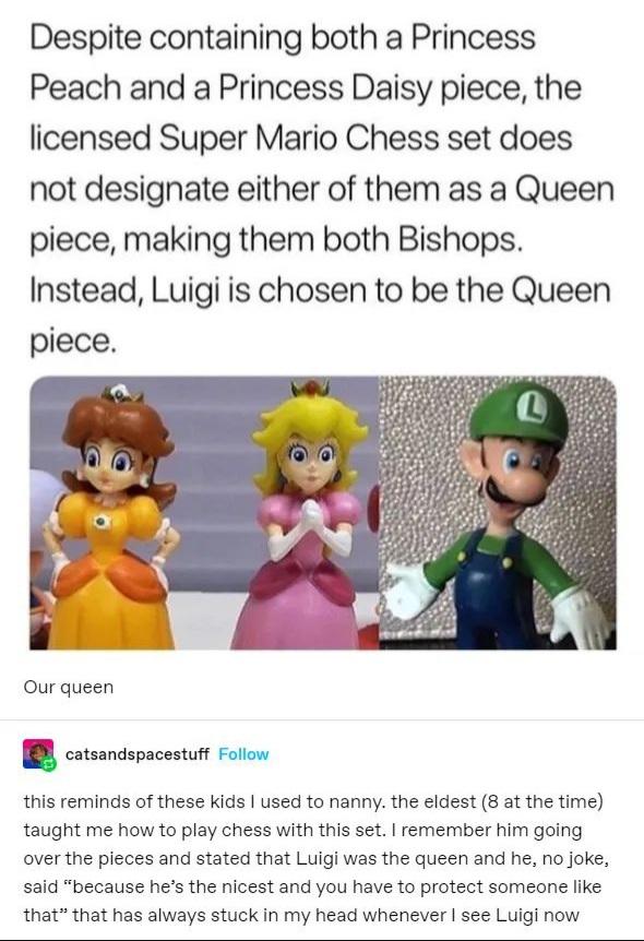 Memes Super Mario chess set Luigi queen piece