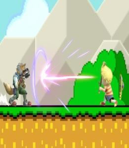 Lucas hit by laser blast by fox Back Shield super Smash Bros ultimate Nintendo Switch