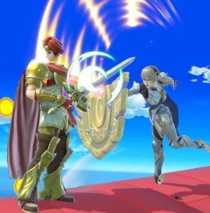 Roy using back Shield to block corrin Back Shield super Smash Bros ultimate Nintendo Switch