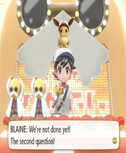Blaine quiz Pokemon Let's Go Pikachu/Eevee Nintendo Switch