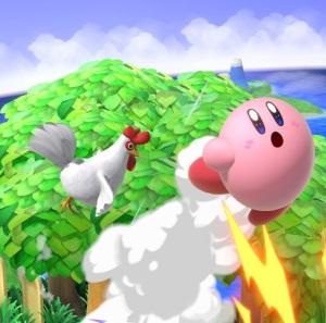 Kirby attacked by Cucco Zelda Chicken super Smash Bros ultimate Nintendo Switch