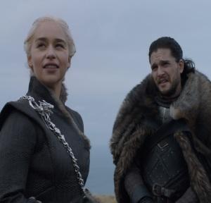 Jon Snow and Daenerys Targaryen on dragonstone Island game of Thrones HBO