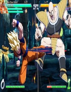 Goku kicks nappa dragon Ball FighterZ Nintendo Switch Xbox One PS4