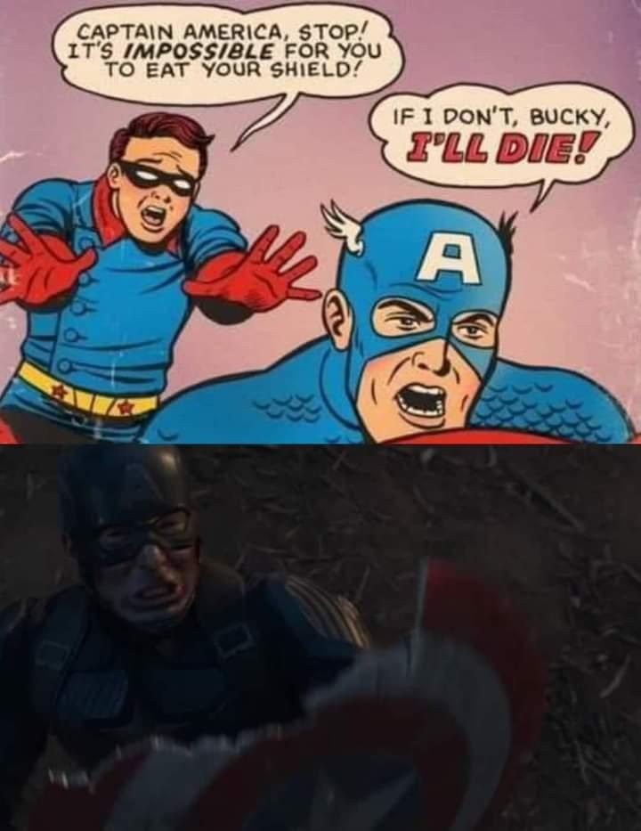 Memes captain America eating shield
