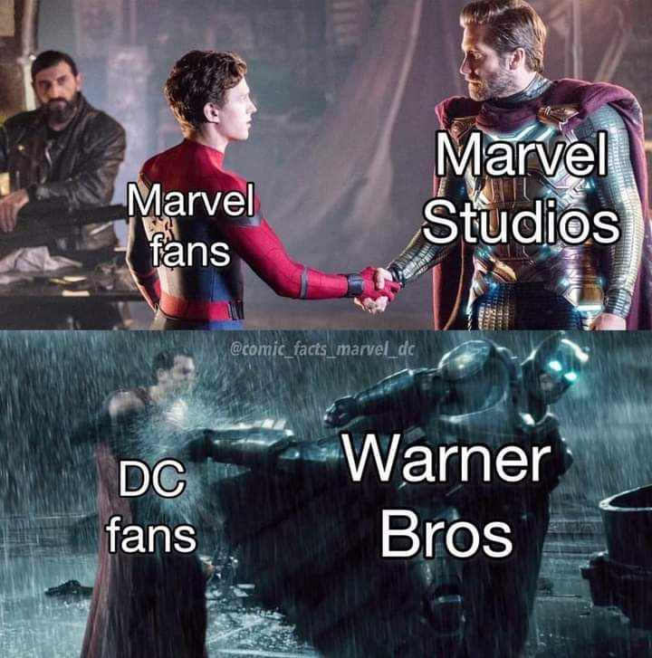 Memes marvel and disney vs dc and warner brothers