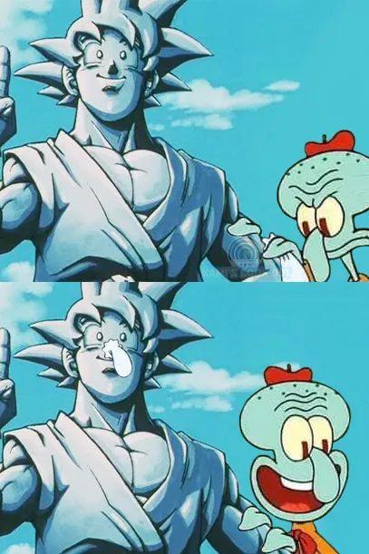 Memes squidward statue goku dragon Ball GT
