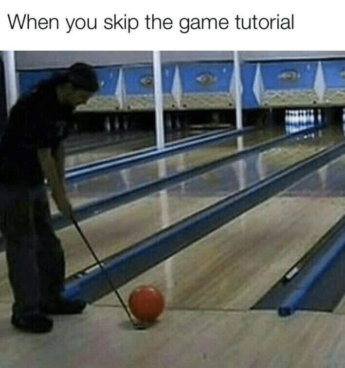 Memes skipping video game tutorial