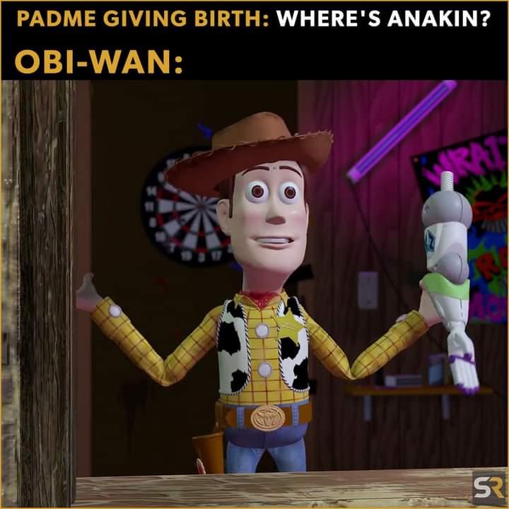 Memes Obi-Wan defeating anakin Skywalker