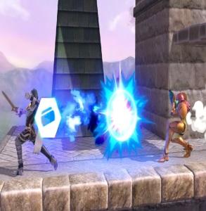 Chrom deflects samus laser blast with Franklin Badge super Smash Bros ultimate Nintendo Switch earthbound