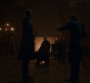 Brienne of Tarth knighted by Jamie Lannister game of Thrones HBO