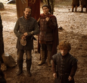 Bronn and Tyrion wait for Oberyn Martell game of Thrones HBO