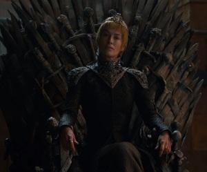 Game of Thrones season 7 queen cersei on the iron throne lena heady