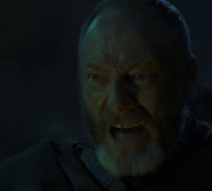 Davos Seaworth hit by wildfire game of Thrones HBO