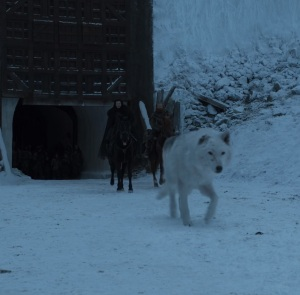 Jon Snow exiled to nights watch with ghost game of Thrones HBO