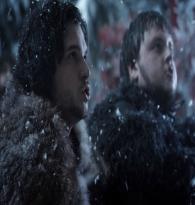 Samwell Tarly and Jon Snow make vows Night's Watch game of Thrones HBO