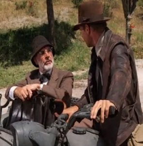 Indiana and Henry Jones riding motorcycle Indiana Jones and the Last Crusade