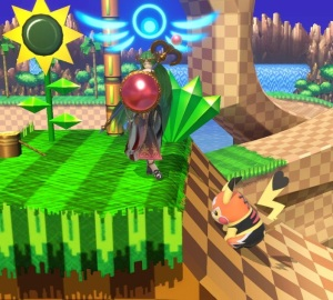 Palutena vs Pikachu Green Hill Zone Stage super Smash Bros ultimate Nintendo Switch sonic the Hedgehog series