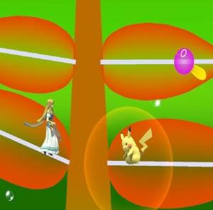 Princess Zelda vs Pikachu Hanenbow stage super Smash Bros ultimate Nintendo Switch Electroplankton
