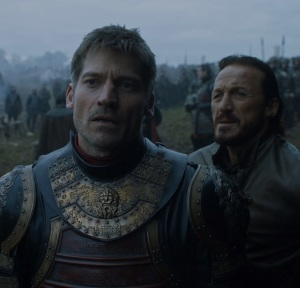 Bronn and Jamie at river run game of Thrones HBO