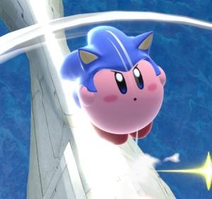 Kirby wearing Sonic wig super Smash Bros ultimate Nintendo Switch Sega