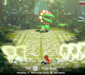 Mario using trick shot against peetey piranha Mario Tennis Aces Nintendo Switch
