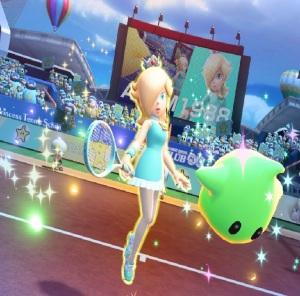 Rosalina and Luma holding tennis racket Mario Tennis Aces Nintendo Switch