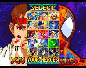 Character select screen Marvel vs Capcom: Clash of Super Heroes