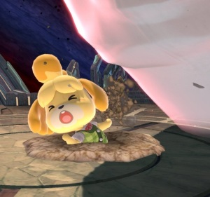 Isabelle hurt by Master Hand super Smash Bros ultimate Nintendo Switch