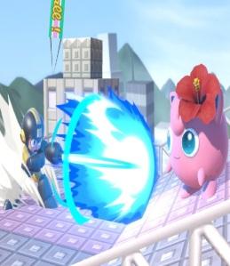 Mega Man shooting mega buster laser ball at jigglypuff super Smash Bros ultimate Nintendo Switch Capcom