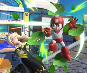Mega Man using leaf shield on rosalina and luma super Smash Bros ultimate Nintendo Switch Capcom