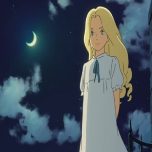 Marnie in nightgown under the full moon When Marnie Was There studio Ghibli