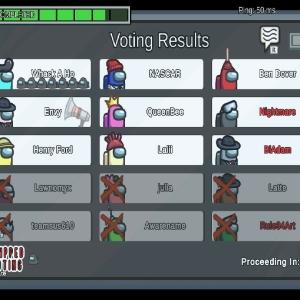 Voting screen Among Us Nintendo Switch