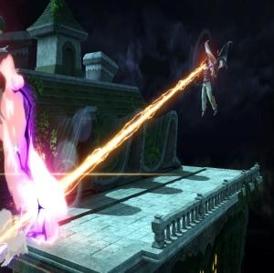 Kazuya fires laser beam at Wii Fit trainer super Smash Bros ultimate Nintendo Switch Tekken Namco