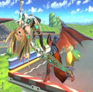 Kazuya throwing Mythra super Smash Bros ultimate Nintendo Switch Tekken Namco