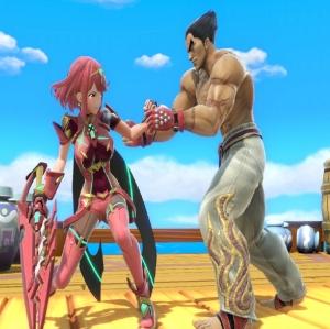 Kazuya grabbing pyra super Smash Bros ultimate Nintendo Switch Tekken Namco