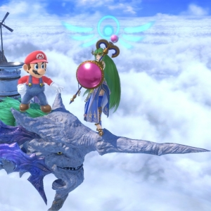 Mario fighting Lady Palutena Cloud Sea of Alrest stage super Smash Bros ultimate Nintendo Switch Xenoblade Chronicles 2