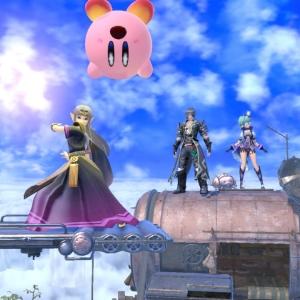 Princess Zelda knocks Kirby upside down Cloud Sea of Alrest stage super Smash Bros ultimate Nintendo Switch Xenoblade Chronicles 2