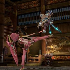 Pyra kicking Mythra Mishima Dojo Stage super Smash Bros ultimate Nintendo Switch Tekken